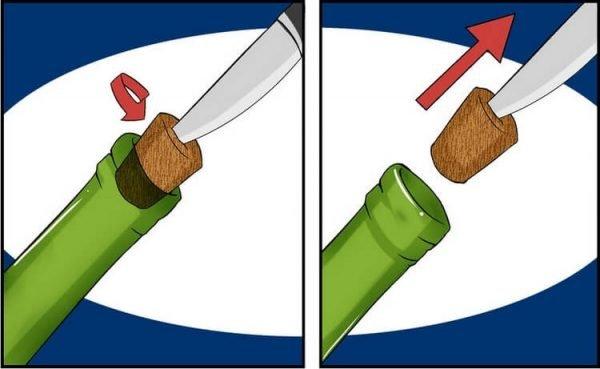 Открываем вино ножом
