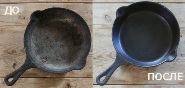 Результат обжига старой чугунной сковороды