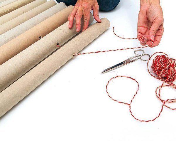 Крепление верёвки в картонных трубах