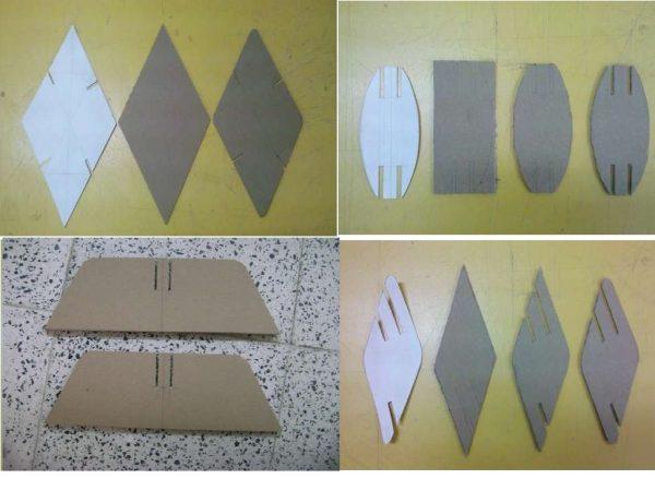 Готовые картонные детали для ширмы
