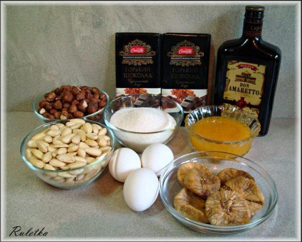 Ингредиенты для орехово-шоколадного туррона