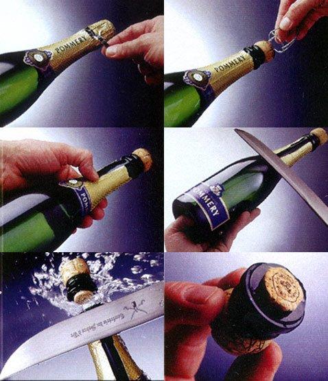 Открытие бутылки шампанского саблей