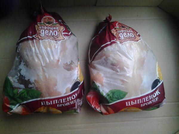Замороженный цыплёнок в упаковке
