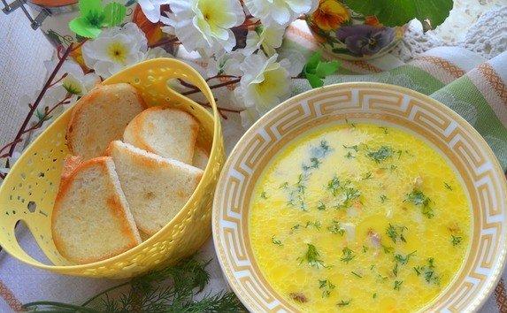 Сырный суп со свежим укропом и подсушенным белым хлебом
