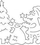 Шаблон «Дед Мороз возле ёлки»