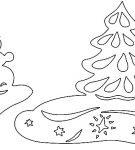 Шаблон «Снеговик возле ёлки»