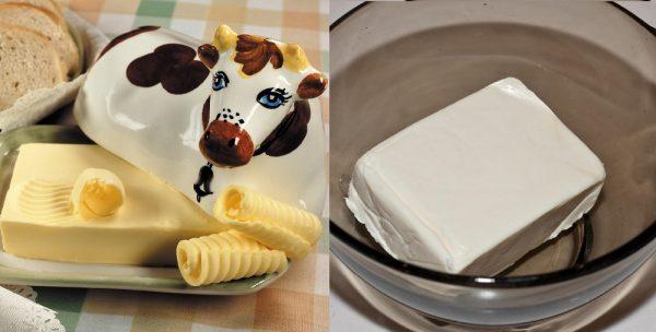 Маслёнка со сливочным маслом и плавленый сыр