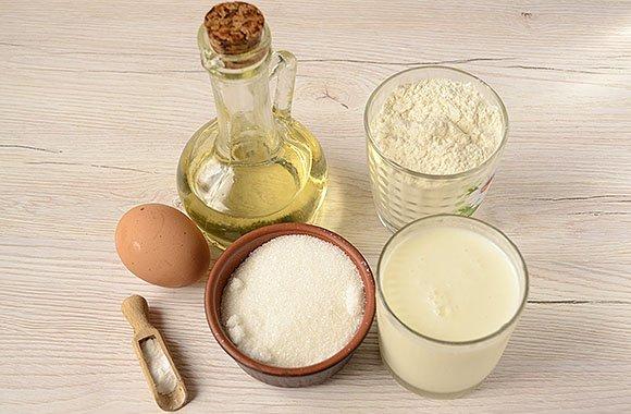 Продукты для приготовления пышного хвороста на кефире
