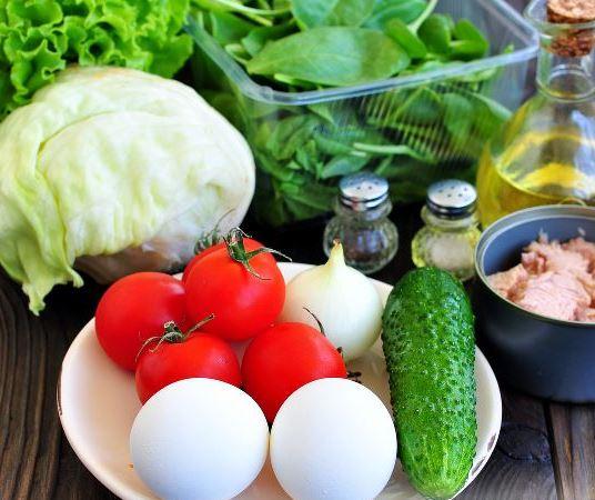 Продукты для классического салата с консервированным тунцом