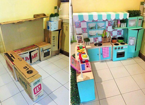 Детская кухня из коробок