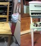 Стул переделан в маленькую кухоньку