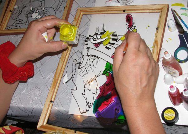 Создание витража акриловыми красками