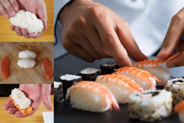 Процесс приготовления классических суши