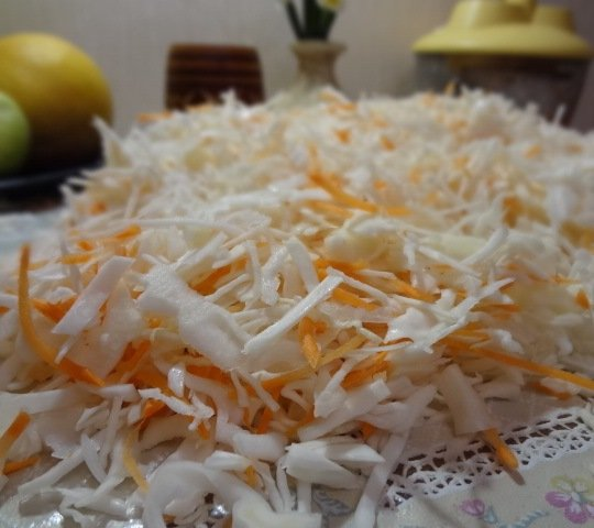 Нашинкованная белокочанная капуста с тёртой морковью