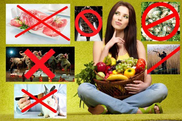 девушка с овощами, отрицание того, что противоречит веганству