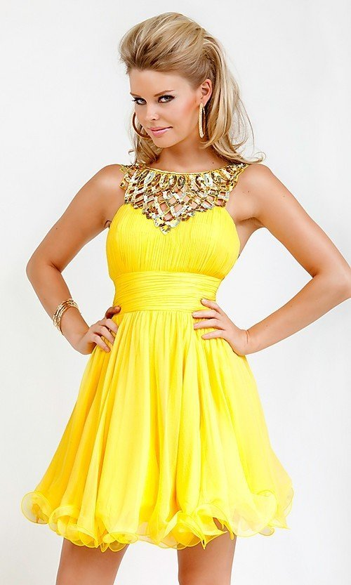 Яркое жёлтое платье