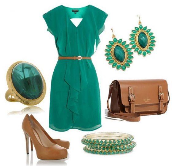 Зелёное платье и аксессуары