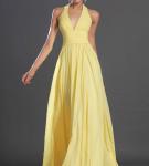 Жёлтое платье вечернее с V-образным вырезом