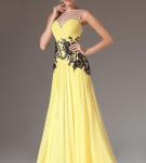 Жёлтое платье с чёрным ажуром