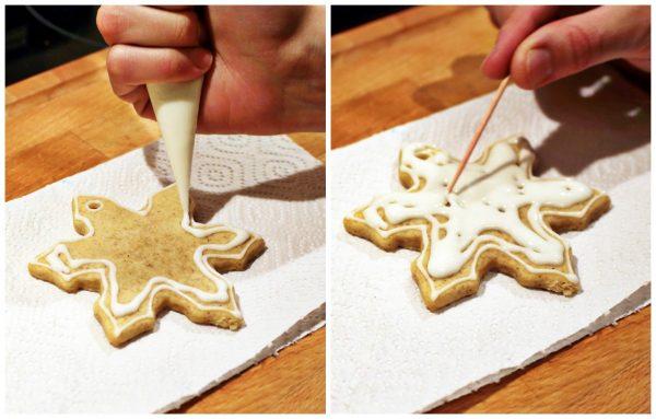 Украшение печенья сахарной глазурью с помощью кондитерского пакета