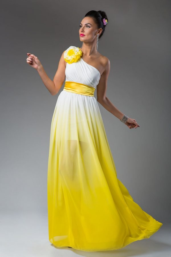 Бело-жёлтое платье
