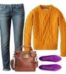 Джинсы и пуловер с рельефным рисунком
