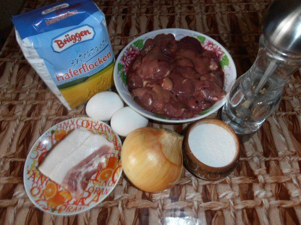 Печень, мука, яйца и лук