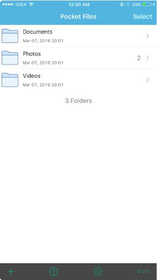 Встроенные папки программы Pocket Files