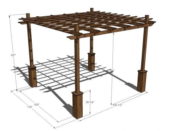 Пример технического рисунка деревянной перголы