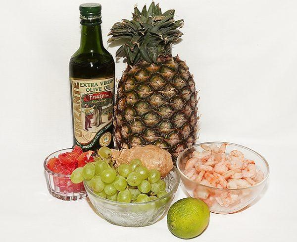Ингредиенты для салата с креветками в ананасе