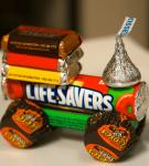 паровозик из конфет