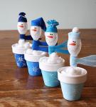 Снеговики из пластиковых ложек