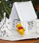 Зимний макет из ватных палочек