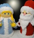 Вязаные Дед Мороз и Снегурочка