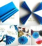 Снежинка из синей бумаги