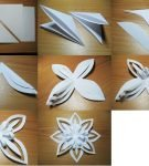 Снежинка из белой бумаги