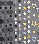 Гирлянда из бумаги «Круги и звёзды разных размеров»