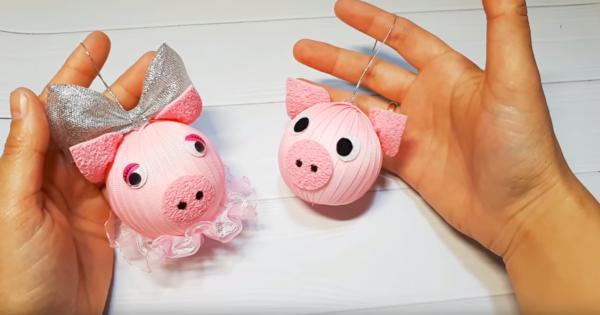 Новогодние игрушки 2019 «Свинки»