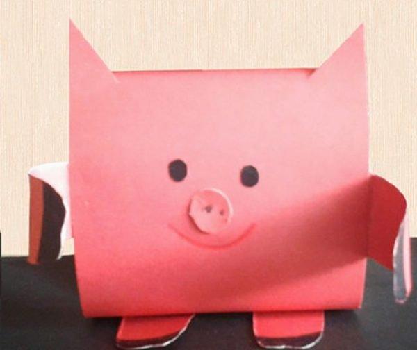 Фигурка свиньи из бумаги