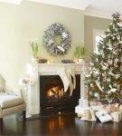 новогодний декор с камином