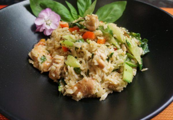 Рис с курицей и зелёным «Карри»