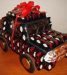 Оформление сладкого подарка «Автомобиль»