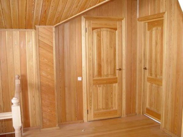 Двери и отделка стен бани из лиственницы