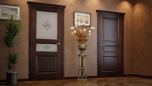 Деревянные двери: глухая и со стеклом
