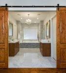 Деревянные двойные раздвижные двери
