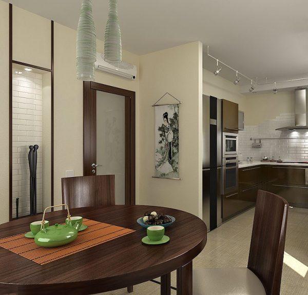 Вариант интерьера кухни и двери под цвет мебели