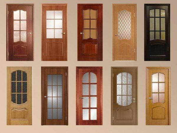 Варианты стеклянных дверей из шпона