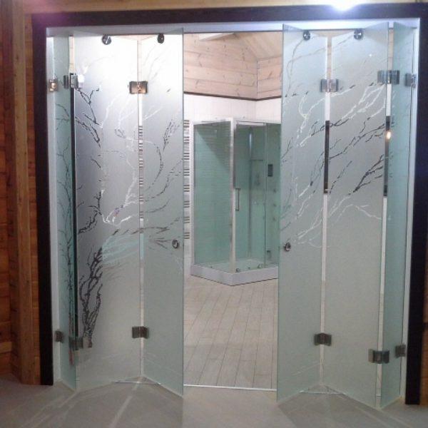 Стеклянные двери-гармошка