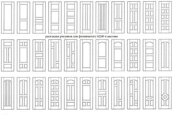 Шаблоны для раскладки рисунка филёнчатой двери