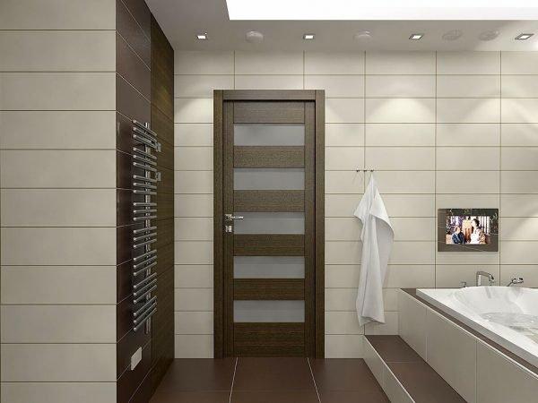 Дверь из экошпона в ванной